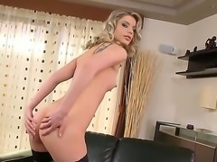 Sweet bitch Marilyn Cole takes off her sexy lingerie and masturbates with a toys
