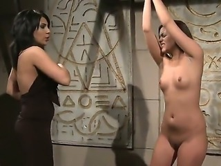 Sexy brunette babe Amina caress and kiss her girlfriend Kelly Roshe as she weeps her