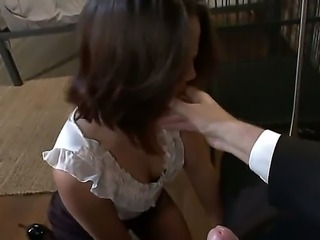 Private investigator Mark Davis knows that Kristina Rose cheats her husband but He wont tell him  provided she agrees to submit to him and lick his shoes and his cock clean!