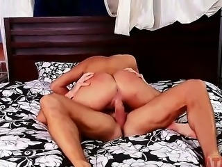 Sexy brunette Naomi West is doing what she does best. Cock. She sucks on a hard cock whilst she gets her pussy all wet from his tongue dipping in and out of it before they fuck each other in all different positions on the bed.