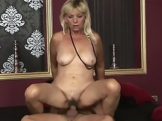 Small boobed Irene is pleasing her younger boyfriend, which loves having sex with mature babes. Enjoy the amazing sexual intercourse of this two.