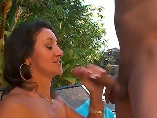 Anthony Rosano and Persia Monir are enjoying a great hardcore fuck at the pool