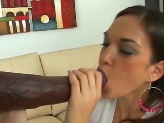 Dark-skinned lover takes his huge arm our of his pants in front of terrified brunette