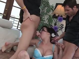 Nasty brunette Veronica Avluv enjoys having her cunt pounded by two horny males