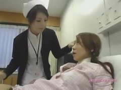 Busty Asian Girl Kissing Spitting With The Nurse On The Bed In The Hospital
