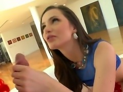 Sweet skinny babe with awesome butt Lily Carter is having it oiled by her...