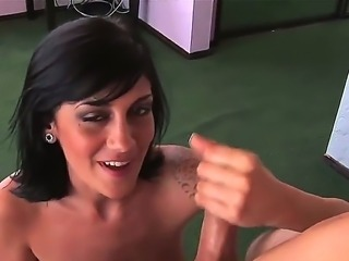 Turned on cock loving skilful black haired Kayden Faye with natural hooters and pierced nipples gets on her knees and gives amazing handjob to her horny hubby in close up.