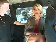 Dirty members of the bang bus meet beautiful business woman. She appears to...