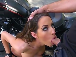 Keiran Lee caught on the street by stunning and smoking hot biker lady Kortney Kane