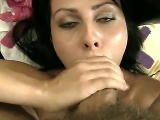 Rocco Siffredi is getting his big dick licked like a lollipop by willing brunette Viki D. But can she get it really deep in her mouth so that it tickles her tonsils