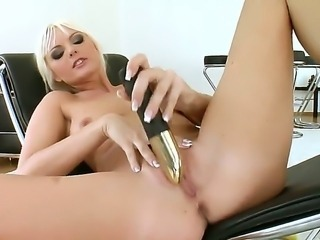 Good-looking and astonishing blonde bitch Sandra Sanchez is very turned on and horny today so she is using a banana and her toys to please her wet and naughty pussy and have a lot of fun.