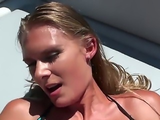 Very hot blonde is giving blowjob and getting fucked on board of the yacht