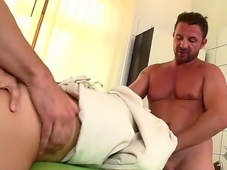 Hardcore threesome scene with two strong friends and the curvy nurse Mira...