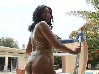 Pretty Jessica Dawn sure likes to masturbate outside and bang hard with a her white friend