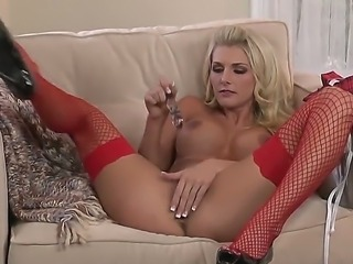 Sexy blonde Alicia Secrets in super hot red stockings with excellent gentle pussy