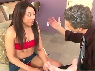 Long haired provocative petite brunette slut
