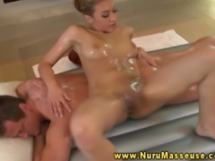 Asian massage babe eagerly sucking dick during oily wet massage