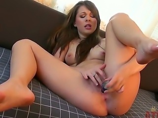 Arousing young slender brunette babe Cali Hayes with natural boobs and...
