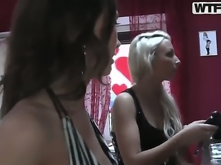 Naughty horny lesbian bithes Alice christina and kiki get into hardcore lesbian action pounding their ass