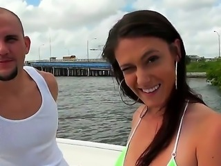 Jmac surprises us today with his new girlfriend Victoria Love! Victoria came for a boat trip, but we know that she came for a trip on Jmacs dick. Oh, she has beautiful natural boobs.