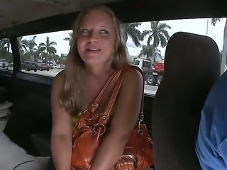 Appetizing college chick Jessica Stone met by us right on the street and invited to visit our bus