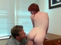 Redhead smiling chick Zoey Nixon seduces her work friend sitting with naked...