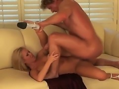 Turned on petite blonde Sasha Knox with small boobies and tight ass in high...