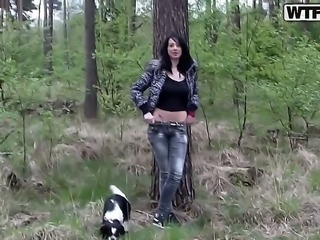We a happy today, because we met so stunning and smoking hot babe as Ella. She has sexy black hair, large all natural boobs and beautiful shaved pussy. She also is ready to be fucked right here, in the forest.
