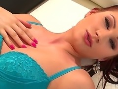 Savoury Carla Mai in blue lingerie strokes her puffy nipples and it makes her...