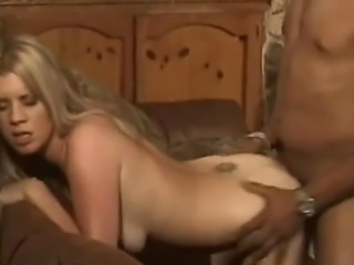 Horny and lusty blonde milf Lexus with slim body and small boobs enjoys in taking on a big black dick in interracial sex session with a hot black hunk and gets smacked from behind.
