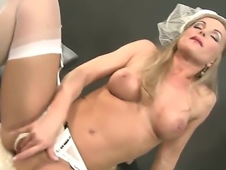 Superb blonde pornstar Sivlia Saint pleases with her full solo masturbation show