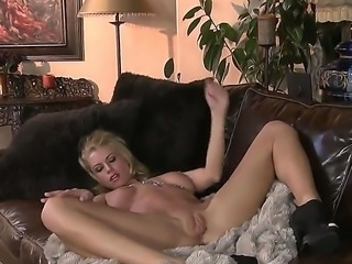 Awesome blonde chick with an amazing body Randy Moore is teasing her hot vagina