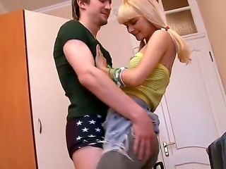Gorgeous skinny schoolgirl is being hardly fucked by her boyfriend at the local hotel. Loly likes her boyfriend sweet dick, that is going in and out her tight pussy.