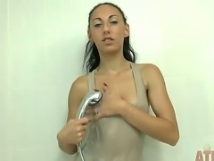 Ready to be teased by someone tiny, cute and damn sexy Ell Storm fits the description perfectly fine! Watch this petite doll get her clothes wet and transparent in the shower!