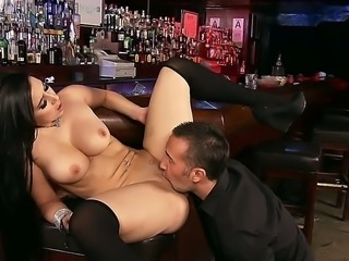 Valerie Kay is about to close the bar for tonight already but Keiran Lee just wouldnt leave it. Well, better for her  just latch the door and attack the bastards big cock then!