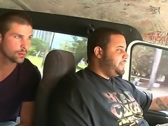 Two horny fuckers with cruel intentions are driving around in bang bus and...