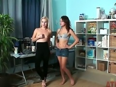 Odette Delacroix and Sara Luvv get playful behind the scenes of their lesbian...