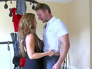 Horny milf kneels and firmly grabs this studs cock, sucking it like crazy