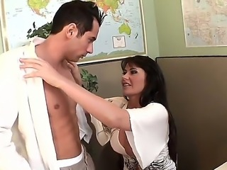 Provocative smoking hot long haired office