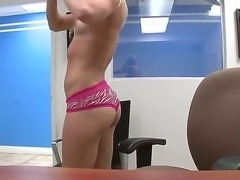 Tanned blonde Natalia Rogue with tight body and small boobs teases and gives...