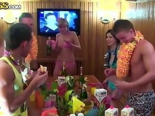 Horny students organize hot party in sauna. They get together and begin drinking alcohol. It is the first part of the following dirty actions. Enjoy this video!