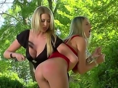 Nice femdom scene with two beautiful busty blondes Danielle Maye and Lexi...