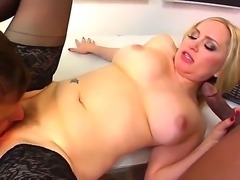 Turned on chubby pale cuckold blonde Aiden Starr with cheep tattoo and big...