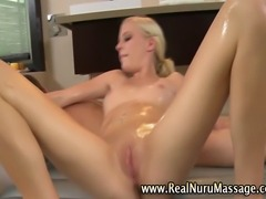 Sexy masseuse fetish babe sucks and massages client