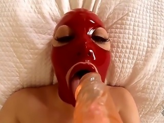 Horny milf  Rubber Ruby enjoys hardcore fetish solo masturbation along with her toys