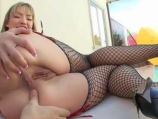 Sweet and horny Maya Hills pleases with her shaved and tight ass hole posing
