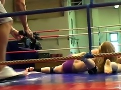 Naughty girls Aleska Diamond and Celine Doll are fighting on the ring in sexy...