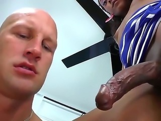 Ebony shemale with fucking gigantic cock is getting hot blowjob from her...