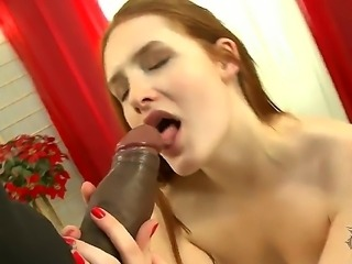 Young redheaded babe Denisa Heaven is being payed for a good fuck with a stranger