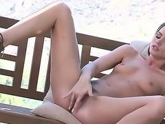 The sympathetic brunette pornstar Tori Black masturbates her sweet pussy in...